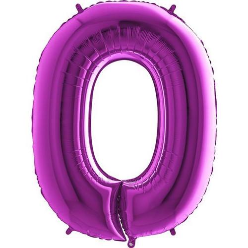 Purple Number 0 Jumbo Foil Balloon 40in