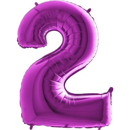 Purple Number 2 Jumbo Foil Balloon 40in