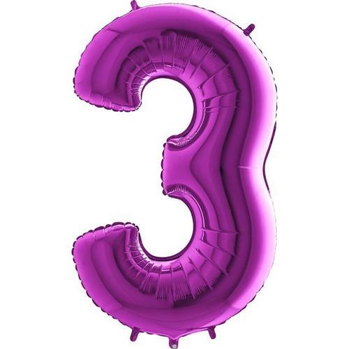 Purple Number 3 Jumbo Foil Balloon 40in