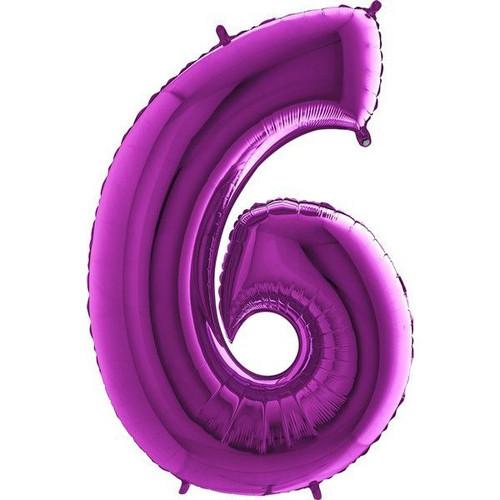 Purple Number 6 Jumbo Foil Balloon 40in