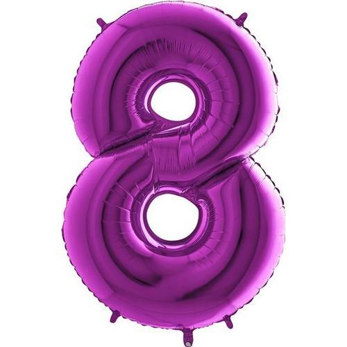 Purple Number 8 Jumbo Foil Balloon 40in