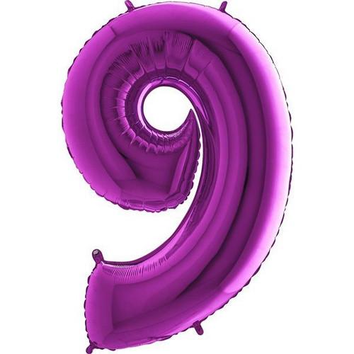 Purple Number 9 Jumbo Foil Balloon 40in
