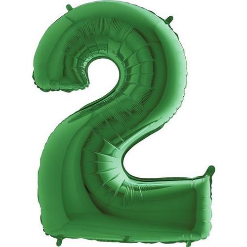 Green Number 2 Jumbo Foil Balloon 40in
