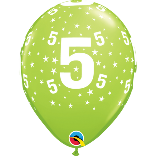 5 Lime Green Stars A Round Balloon 11in