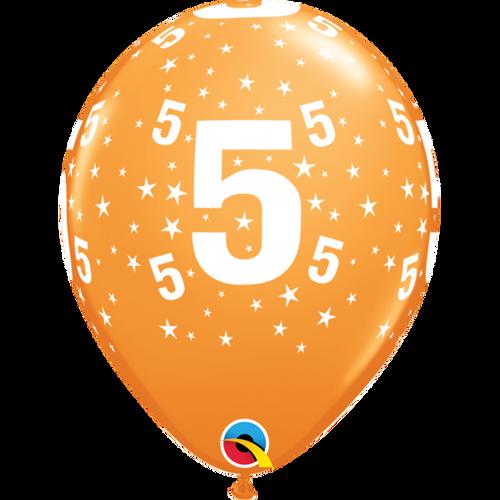 5 Orange Stars A Round Balloon 11in