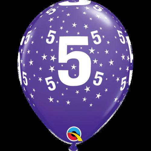 5 Purple Violet Stars A Round Balloon 11in