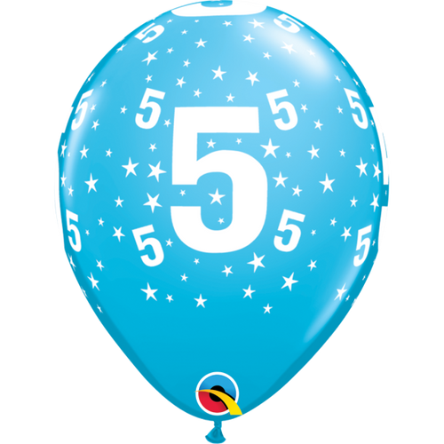 5 Robins Egg Blue Stars A Round Balloon 11in