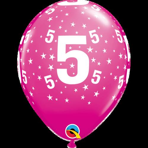 5 Wild Berry Stars A Round Balloon 11in