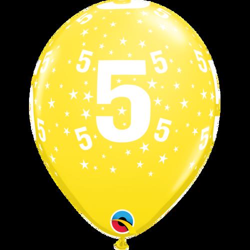 5 Yellow Stars A Round Balloon 11in