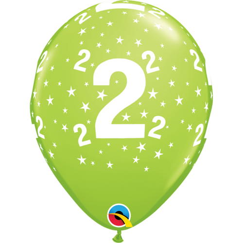 2 Lime Green Stars A Round Balloon 11in