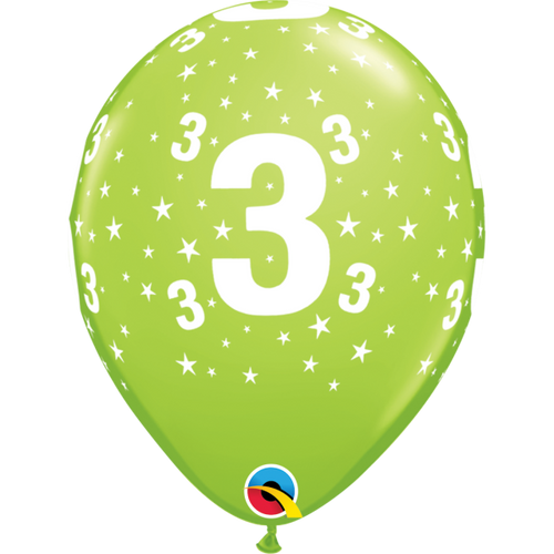 3 Lime Green Stars A Round Balloon 11in