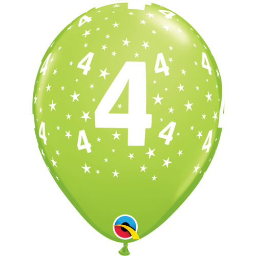 4 Lime Green Stars A Round Balloon 11in