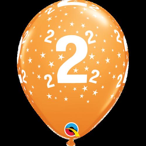 2 Orange Stars A Round Balloon 11in