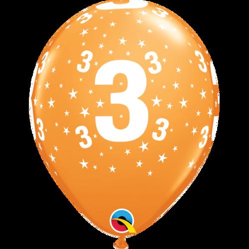 3 Orange Stars A Round Balloon 11in