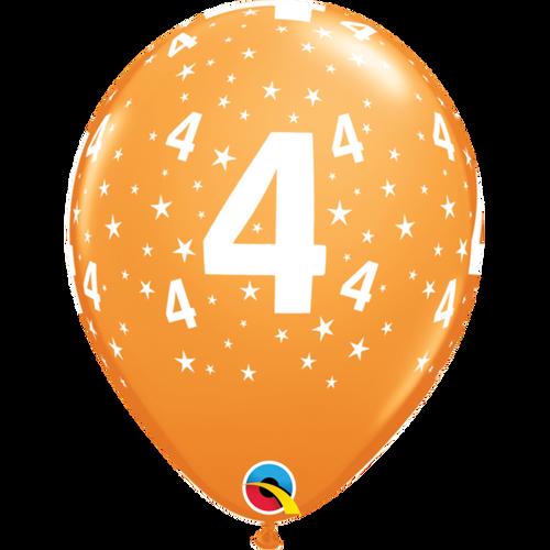 4 Orange Stars A Round Balloon 11in