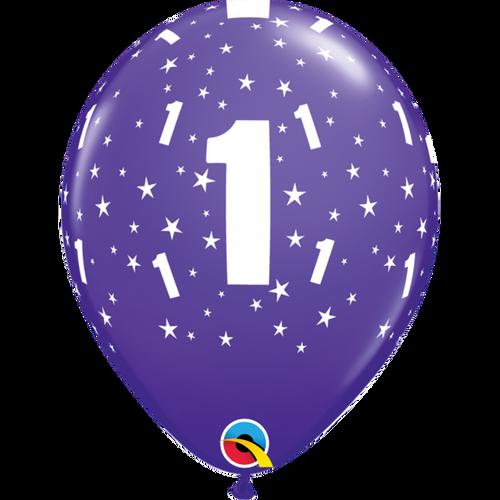 1 Purple Violet Stars A Round Balloon 11in