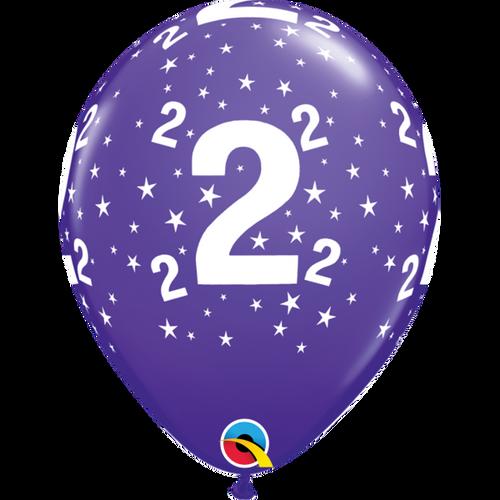 2 Purple Violet Stars A Round Balloon 11in