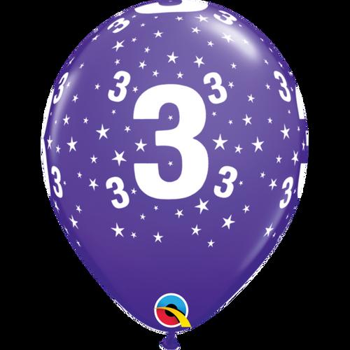 3 Purple Violet Stars A Round Balloon 11in