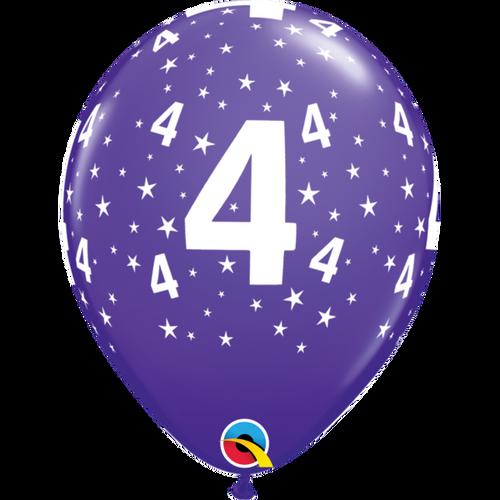 4 Purple Violet Stars A Round Balloon 11in