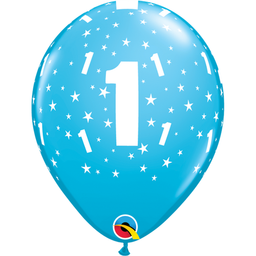 1 Robins Egg Blue Stars A Round Balloon 11in