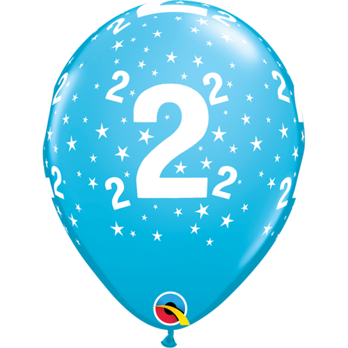 2 Robins Egg Blue Stars A Round Balloon 11in