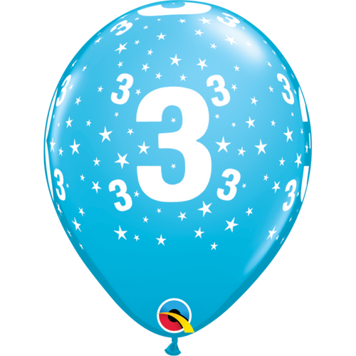 3 Robins Egg Blue Stars A Round Balloon 11in
