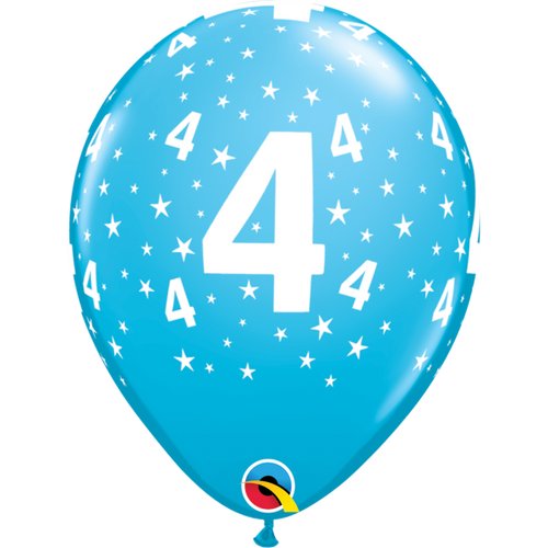4 Robins Egg Blue Stars A Round Balloon 11in