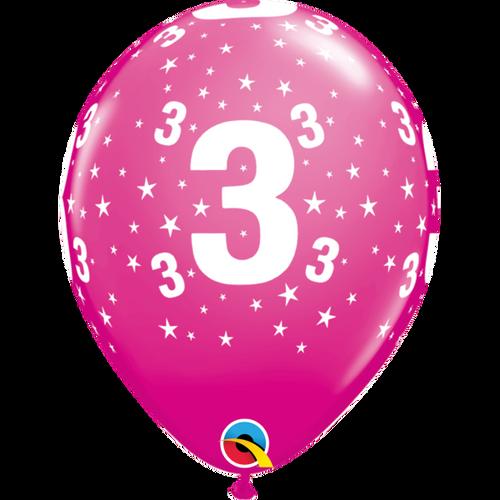 3 Wild Berry Stars A Round Balloon 11in
