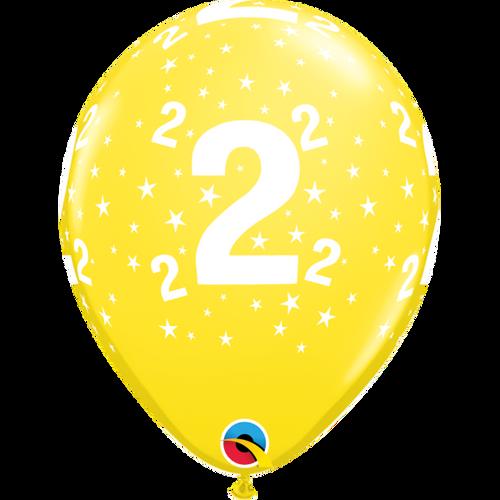 2 Yellow Stars A Round Balloon 11in