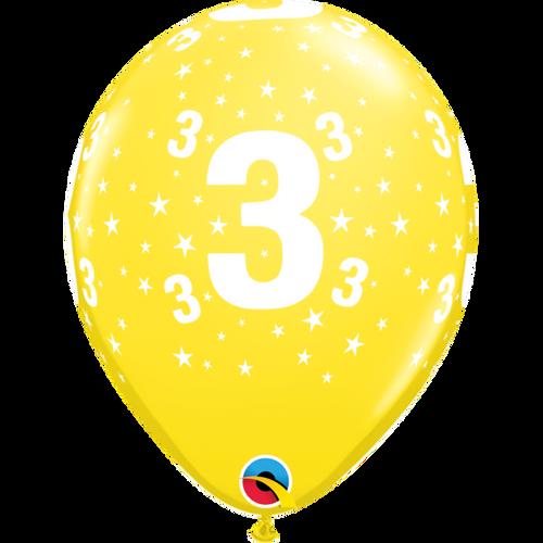3 Yellow Stars A Round Balloon 11in