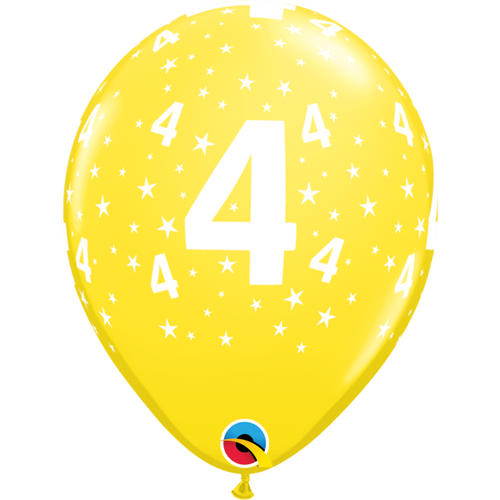4 Yellow Stars A Round Balloon 11in