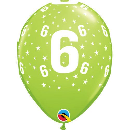 6 Lime Green Stars A Round Balloon 11in