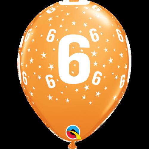6 Orange Stars A Round Balloon 11in