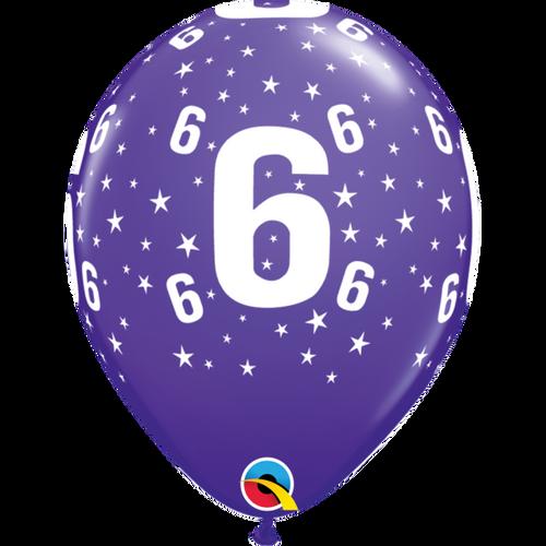 6 Purple Violet Stars A Round Balloon 11in