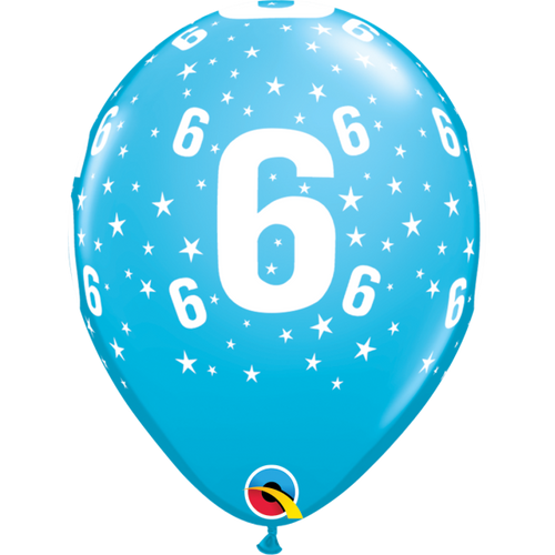6 Robins Egg Blue Stars A Round Balloon 11in