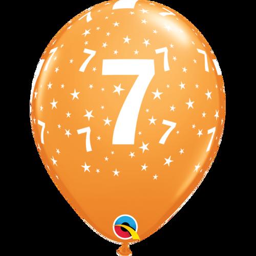 7 Orange Stars A Round Balloon 11in