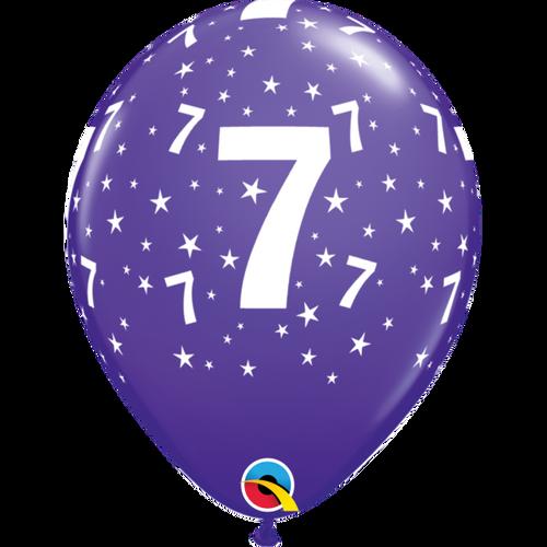 7 Purple Violet Stars A Round Balloon 11in
