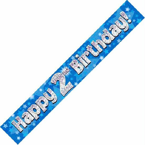2nd Birthday Blue Holographic 9ft Wall Banner