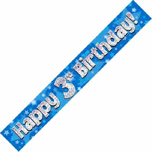 3rd Birthday Blue Holographic 9ft Wall Banner