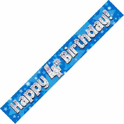 4th Birthday Blue Holographic 9ft Wall Banner