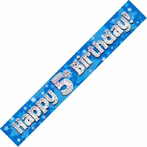 5th Birthday Blue Holographic 9ft Wall Banner