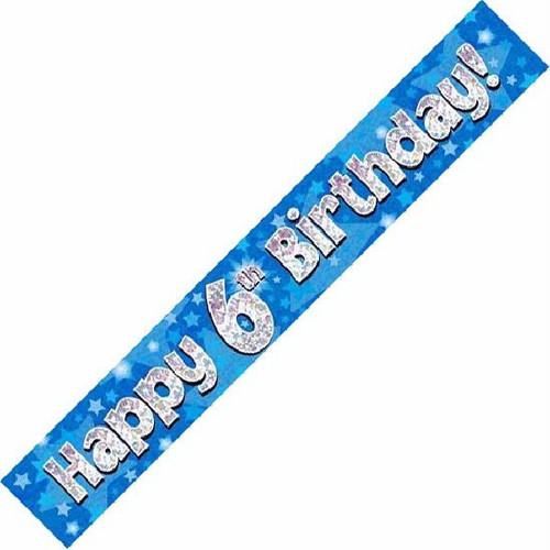 6th Birthday Blue Holographic 9ft Wall Banner