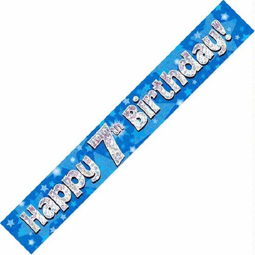 7th Birthday Blue Holographic 9ft Wall Banner