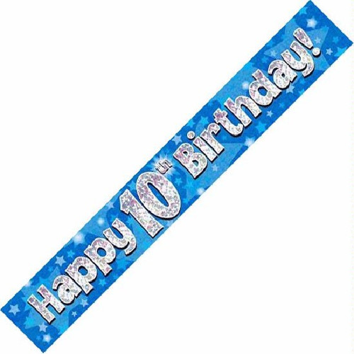 10th Birthday Blue Holographic 9ft Wall Banner