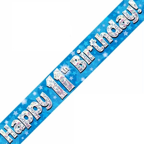 11th Birthday Blue Holographic 9ft Wall Banner