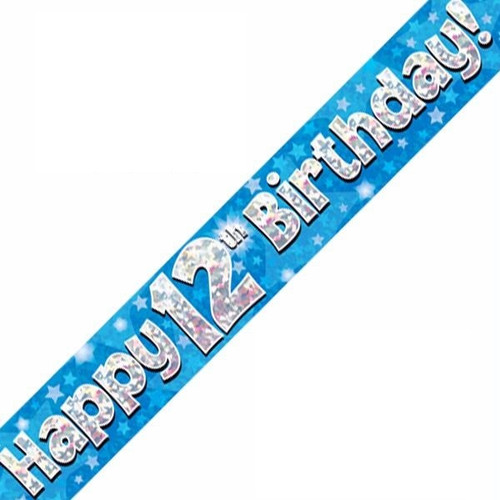 12th Birthday Blue Holographic 9ft Wall Banner