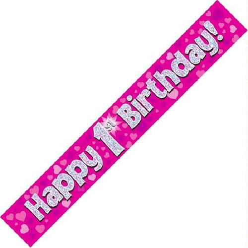 1st Birthday Pink Holographic 9ft Wall Banner