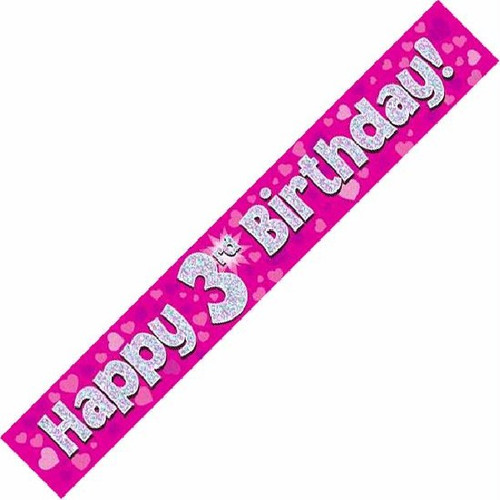 3rd Birthday Pink Holographic 9ft Wall Banner