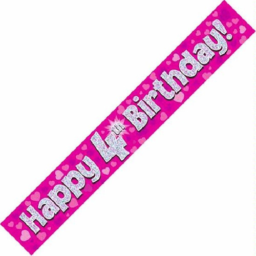 4th Birthday Pink Holographic 9ft Wall Banner