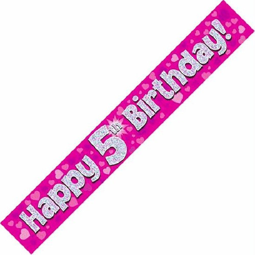 5th Birthday Pink Holographic 9ft Wall Banner
